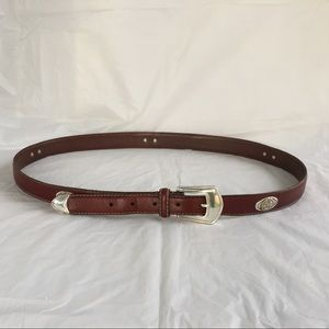 Fossil brown leather belt with golf detail sz 44